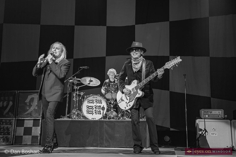 Cheap Trick band members, Robin Zander (lead vocals), Daxx Nielsen (drums), and Tom Petersson (bass guitar)