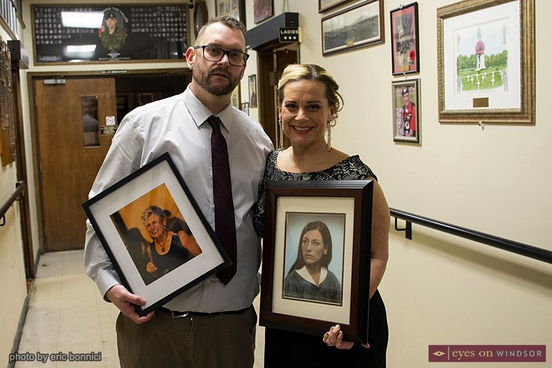 Kevin Walker and Angela Yakonich holding photos of their mother, the late Sue Walker
