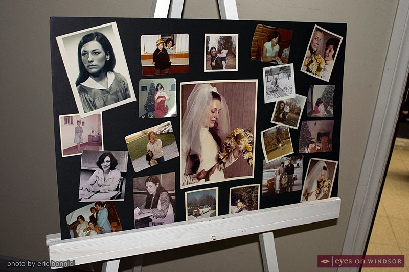 Photos of Susan Walker on display during her life celebration