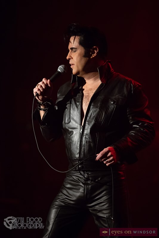 James Gibb Elvis Tribute Artist in Black Leather Jacket and Pants