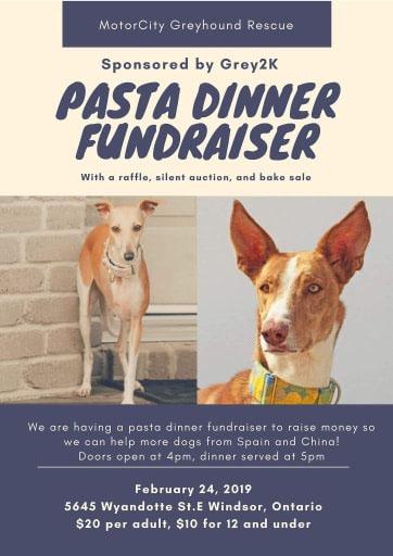 Motorcity Greyhound Rescue Pasta Dinner Fundraiser Poster