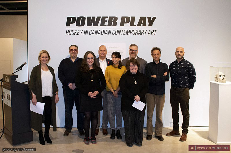 Artists and organizers of the Power Play: Hockey in Canadian Contemporary Art, and Johan Grimonprez: Dialogues, exhibits at the Art Gallery of Windsor.