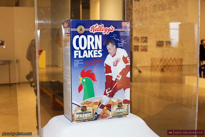 Gordie Howe Corn Flakes Cereal Box on display at the Art Gallery of Windsor