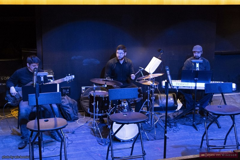 Alex Aideira-Leite (Bass), Nicholas Baddeley (Drums), and Mike Karloff (Keyboards) performing during rehearsal of Sam Poole's graduation project