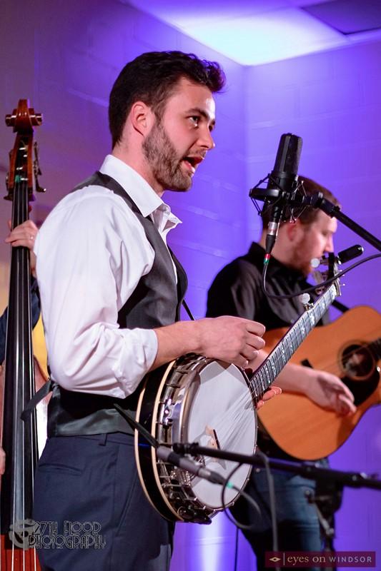 Slocan Ramblers band Frank Evans on banjo