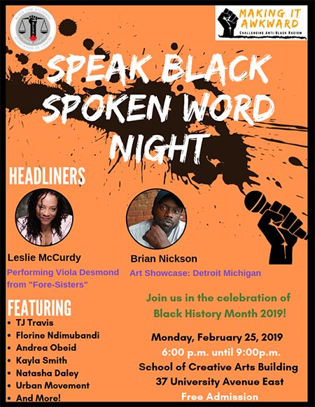 Speak Black Spoken Word Night Poster