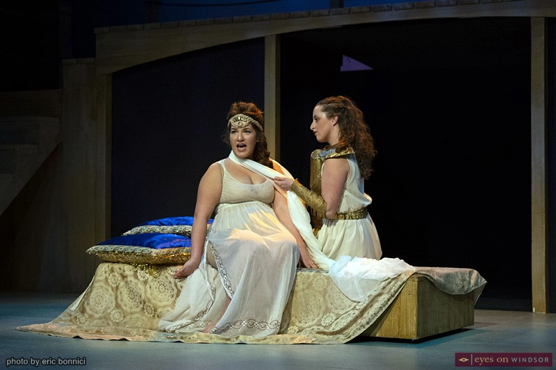 Jacqueline Karabatsos (left) cast as Penelope, and Shayla Hudson, cast as Odysseus