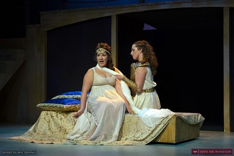 Jacqueline Karabatsos (left) cast as Penelope, and Shayla Hudson, cast as Odysseus