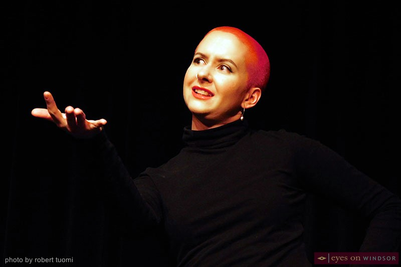 Ilia Sumner performing during Windsor Law's Vagina Monologues