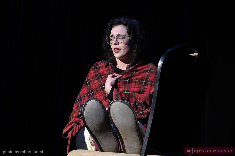 Piper Riley Thompson performing during Windsor Law's Vagina Monologues