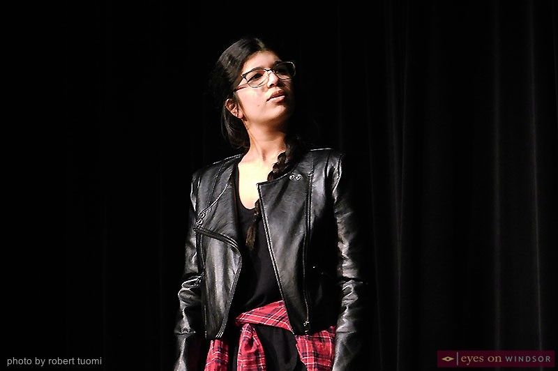Zenia Sethna performing during Windsor Law's Vagina Monologues