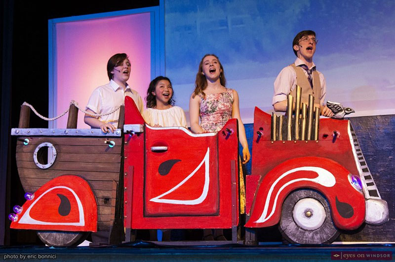 Chitty Chitty Bang Bang flying scene in Walkerville Collegiate's production of the play.