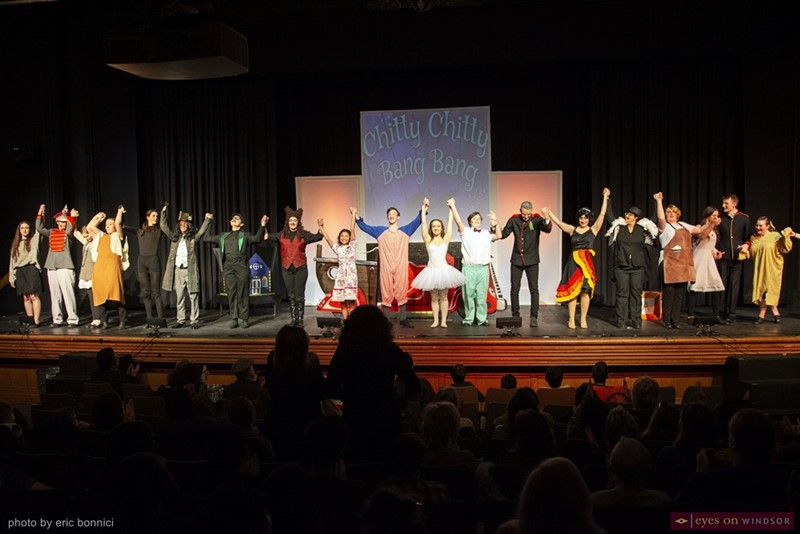 Cast of Walkerville Collegiate's Chitty Chitty Bang Bang taking a bow at the end of their performance.