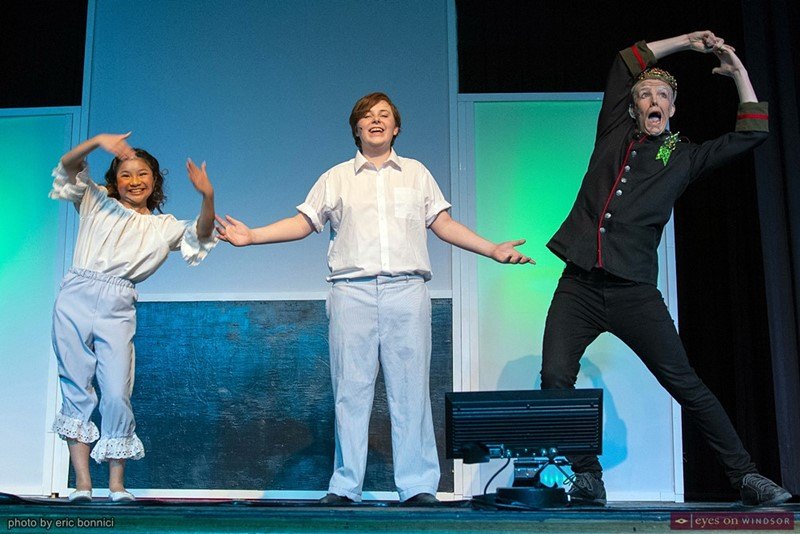 Elizabeth Meriano, Zeb Fulcher, and Aidan Robertson in Walkerville Collegiate's Chitty Chitty Bang Bang