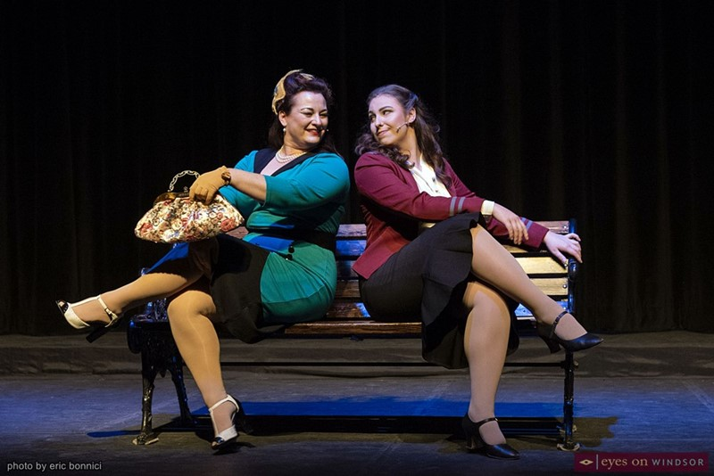 Stephanie Allen Santos as Adelaide (left) and Becca Silvius as Sarah Brown performing in Guys & Dolls