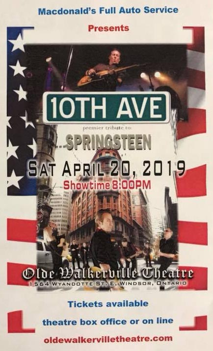 10th Avenue Bruce Springsteen Tribute Olde Walkerville Theatere Windsor Poster