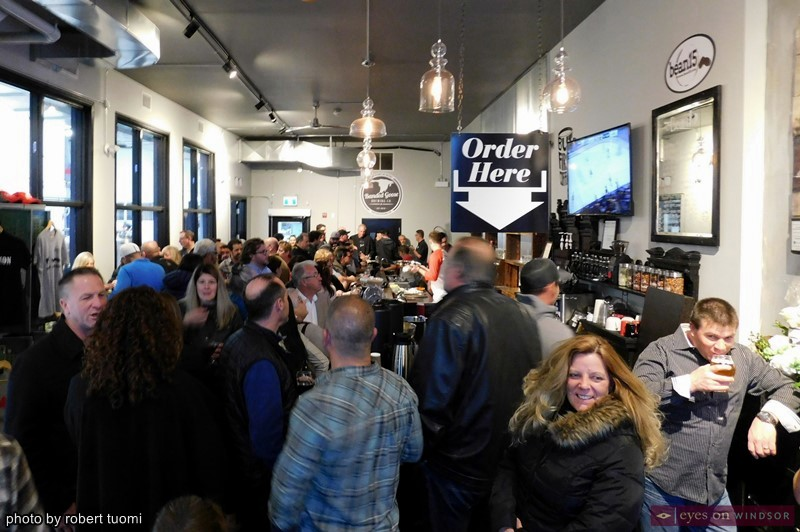 People gathered inside The Banded Goose Brewing Company & Taproom Open House