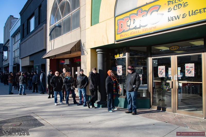 Customers line up at Dr. Disc Records on Record Store Day