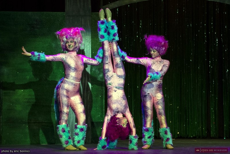 Abigail Wearne, , Brooklyn Dobson, and Emelia Santos performing as The Cheshire Cats