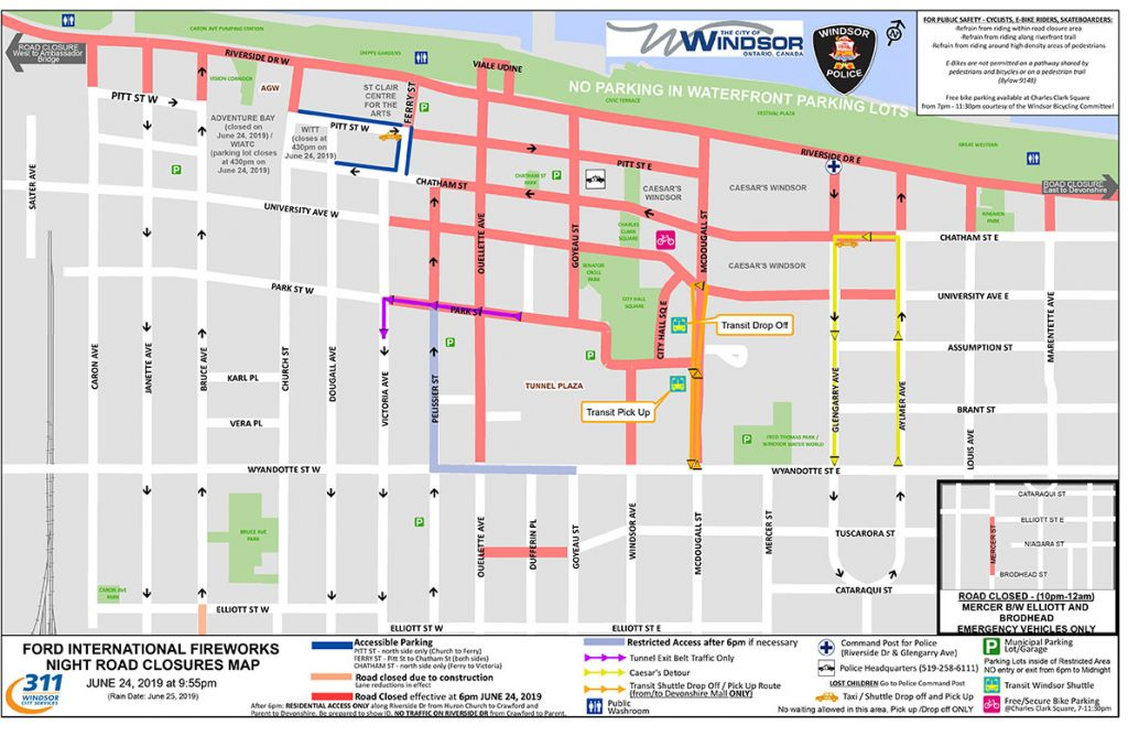 Ford Fireworks Road Closures Map in Windsor Ontario