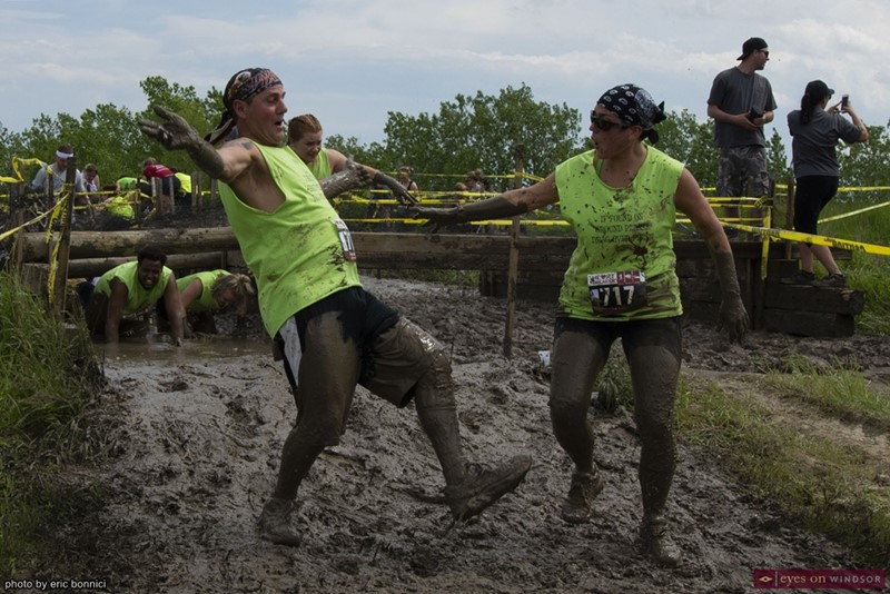 Heart Breaker Challenge Participants Slipping in Mud