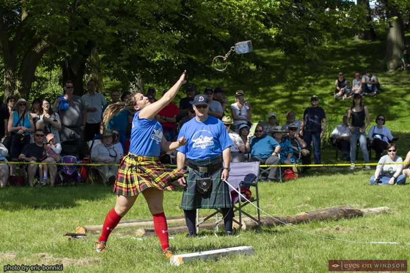 Woman throwing a heavy object during Highland Kingsville Games