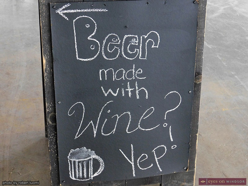 Windsor Eats sign promoting Beer Made With Wine