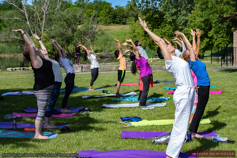 People stretching during International Yoga Day Windsor