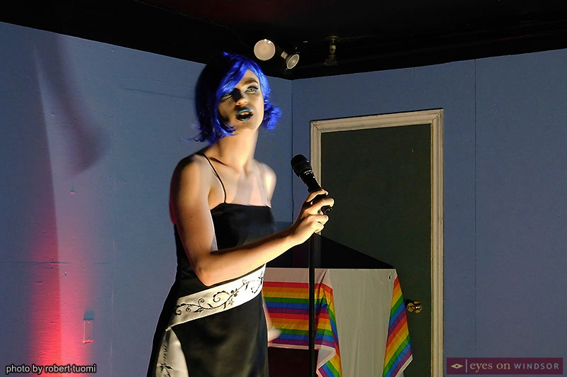 Revolution Youth Theatre's Logan Sawyer performing as drag queen Lexington Symphene