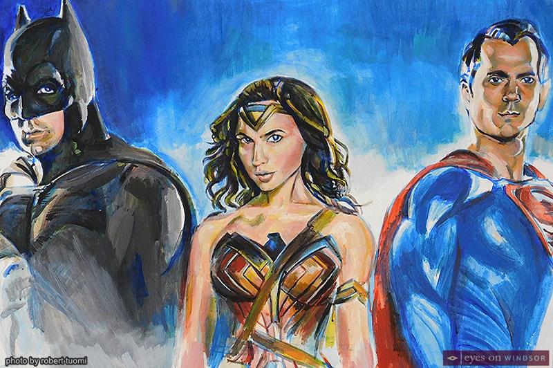 Artist Irene Sekersky's painting of super heroes