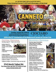 Madonna di Canneto Festival Ciociaro Club of Windsor Poster