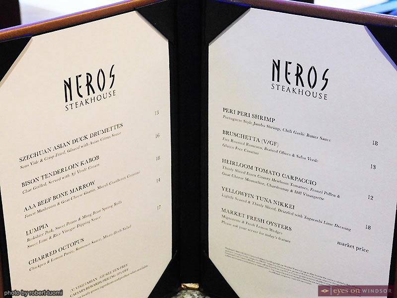 Neros Steakhouse Social Lounge Menu