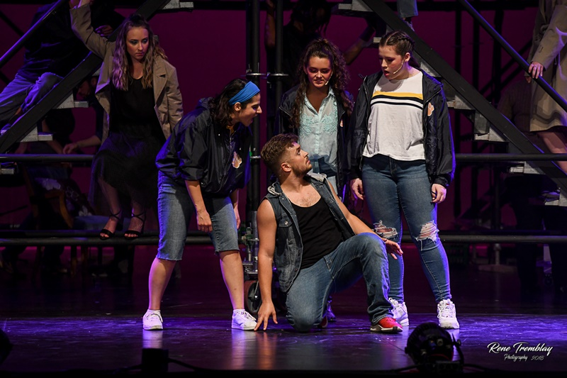 Savannah Ewing, Angela Ibrahim, Floyd Noan-Ducedre, Lily Cecile, and Sarah Phillips in ACT Windsor's Footloose The Musical
