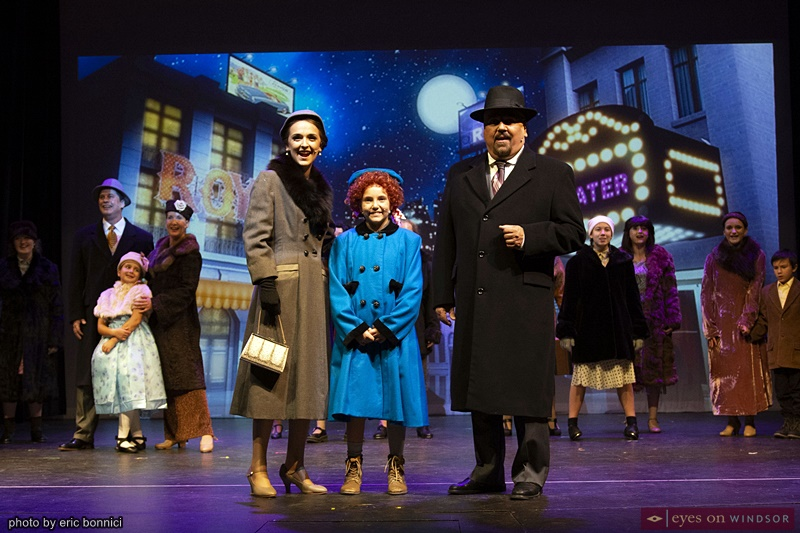 Actors Regan White, Peyton Del Papa, and Joe Cardinal in Annie The Musical