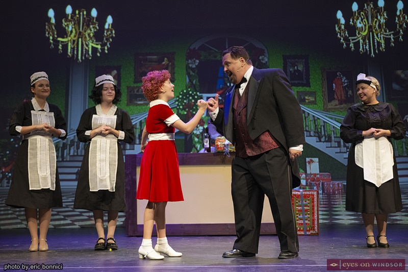 Peyton Del Papa (cast as Annie) and Joe Cardinal (cast as Daddy Warbucks)