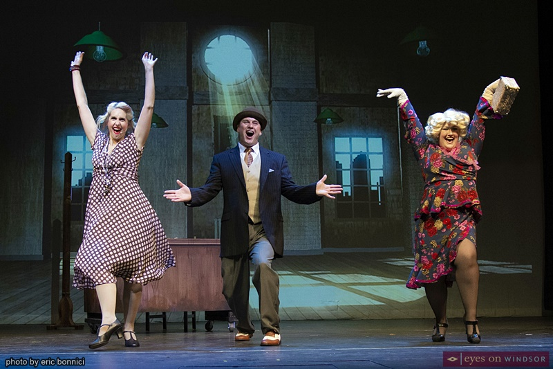 Lindsay Norris as Miss Hannigan (left), David Burrows as Rooster, and Nina Fasullo as Lily St. Regis
