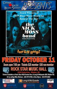 Nick Moss Band presented by Canada South Blues Society Windsor Poster