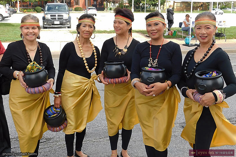 Filipino community in traditional clothing during Open Streets Windsor