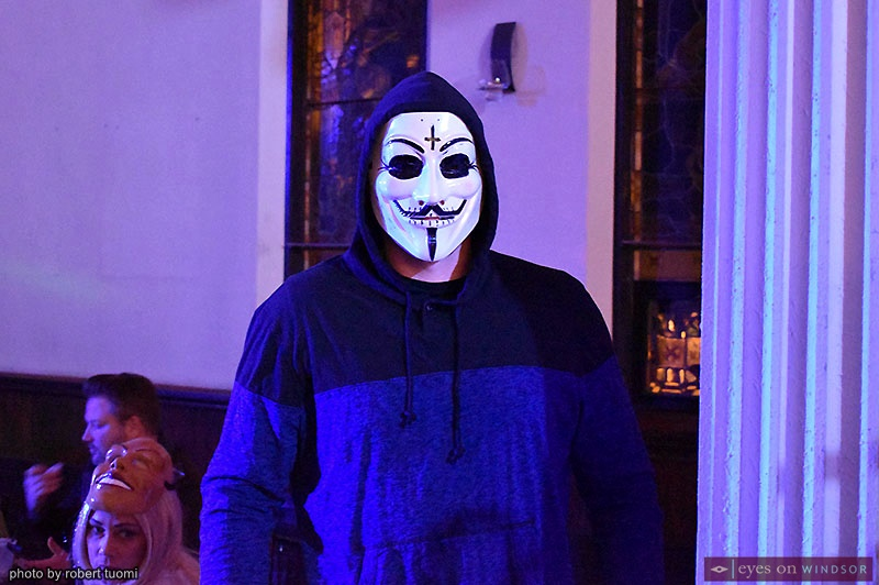 Water's Edge Halloween Charity Bash guest dressed as Hackers Anonymous