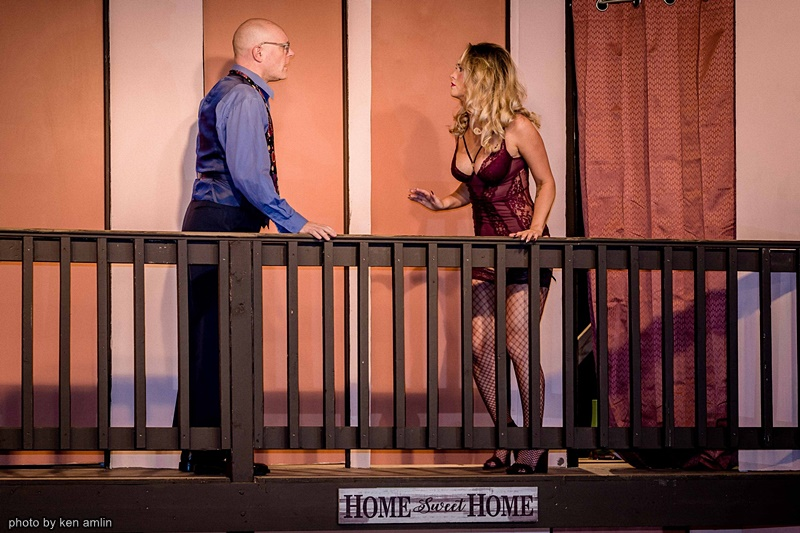 Clinton Hammond and Emma Amlin in Noises Off at The Bank Theatre