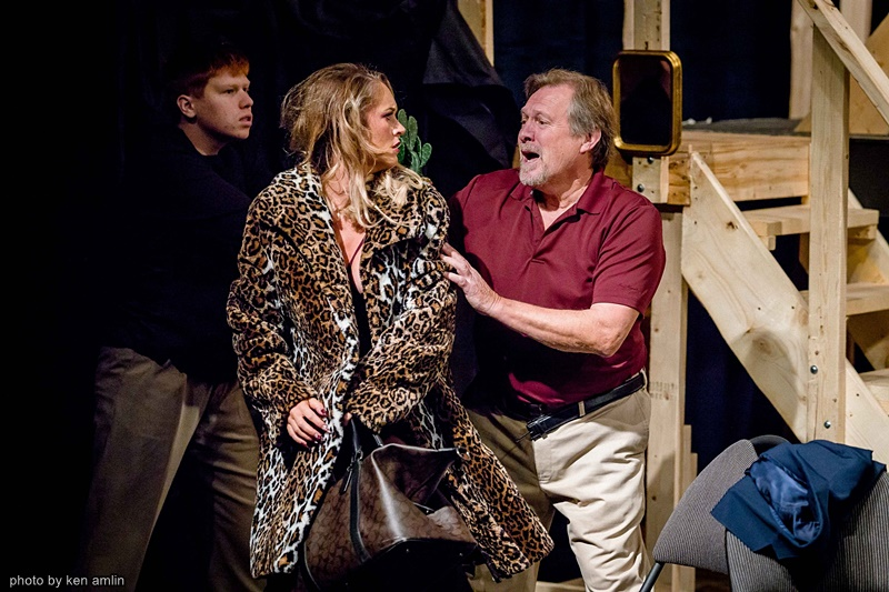Noah Simpson, Michael Hale, and Emma Amlin in Noises Off at The Bank Theatre