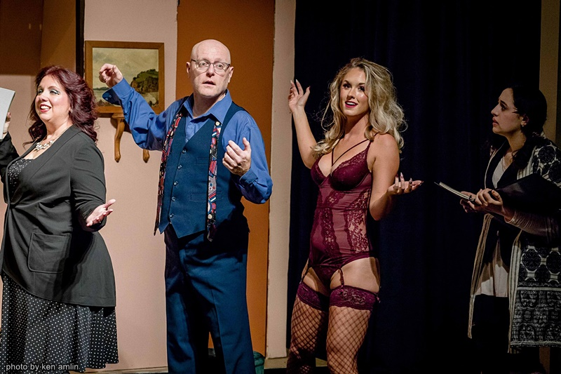 Actors Cindy Pastorius, Clinton Hammond, Emma Amlin, and Perla Alejandra Layman in Noises Off at The Bank Theatre