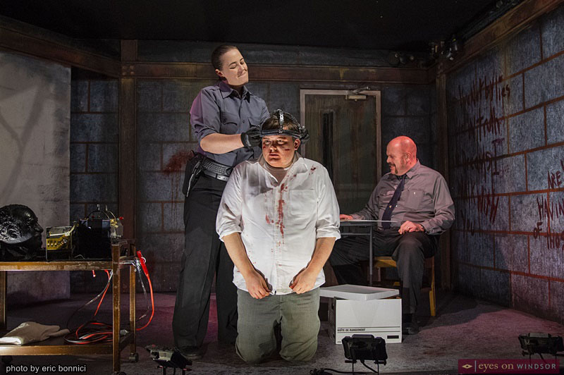 Fay Lynn, Eric Brange, and Simon Du Toit in The Pillowman by Post Productions Windsor