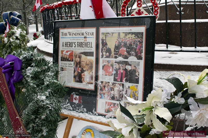 Windsor Star News Article about Corporal Andrew Grenon on Display During Windsor's Remembrance Day Ceremony