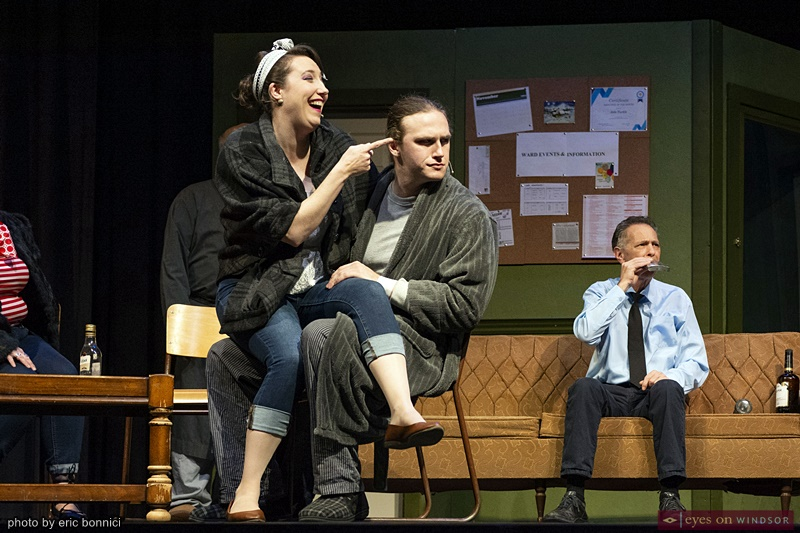 Cast members Kerri Galloway, Dylan Dundas, and Jay Tessier in Cardinal Music Productions One Flew Over The Cuckoo's Nest