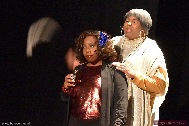 Brianna Jai and Mz Teenie performing in the play The Vandellas No More Tears