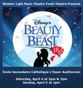 Disney's Beauty and the Beast Jr. Poster Windsor Light Music Theatre Youth Theatre