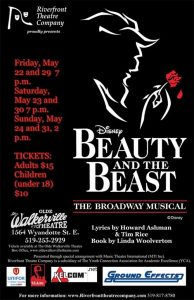 Beauty and The Beast The Broadway Musical Poster Riverfront Theatre Company Olde Walkerville Theatre