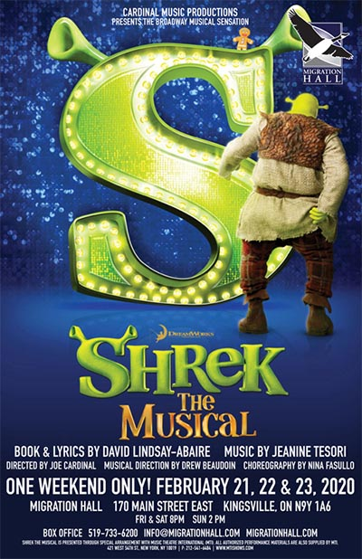 Cardninal Music Productions Shrek The Musical Poster (Migration Hall, Kingsville)