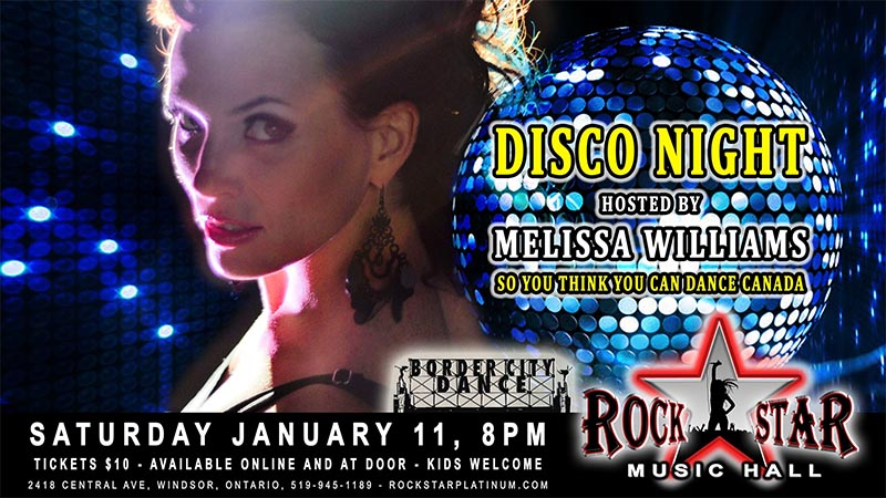 Disco Night hosted by Melissa Williams at Rockstar Music Hall Poster